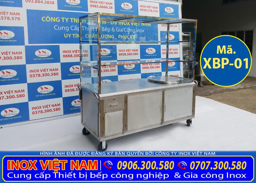 tủ bán hủ tiếu phở sử dụng nồi điện nấu phở bằng điện tích hợp mái che lắp kính được gọi là tủ bán hủ tiếu, tủ bán phở inox sử dụng điện.