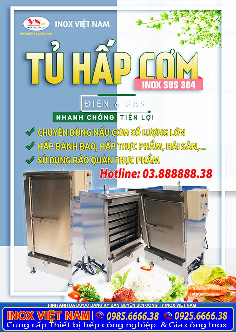 Tủ hấp cơm công nghiệp bằng điện và gas chính hãng Inox Việt Nam do chúng tôi sản xuất.