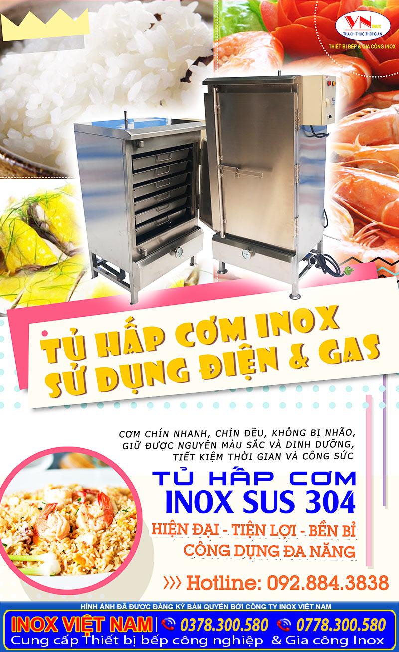 Địa chỉ bán tủ cơm inox công nghiệp bằng điện và gas giá tốt tại TP HCM có giao hàng tại các tỉnh nhé!