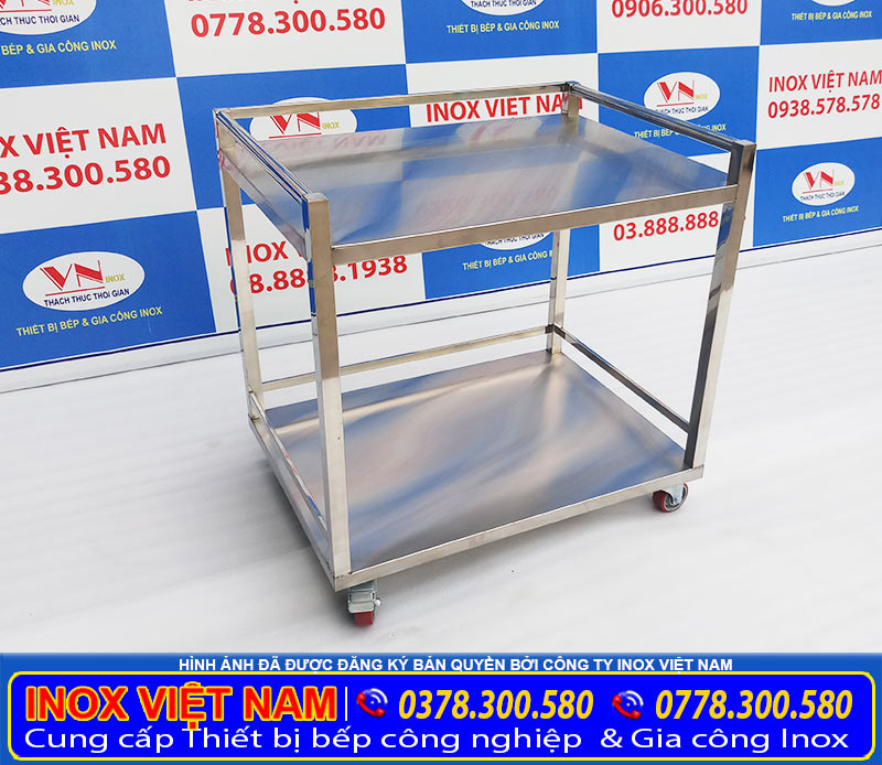 Liên hệ chúng tôi mua xe đẩy hàng inox 2 tầng giá tốt tại xưởng chúng tôi. Inox Việt Nam.