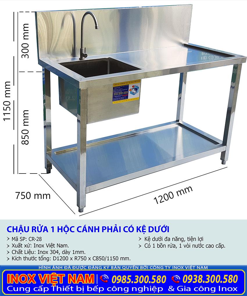 Báo giá chậu rửa đơn cánh phải có kệ phẳng dưới, chậu rửa inox công nghiệp có 1 chậu tại Inox Việt Nam.