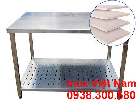 Bàn Chặt inox 2 tầng, bàn inox chặt thực phẩm.