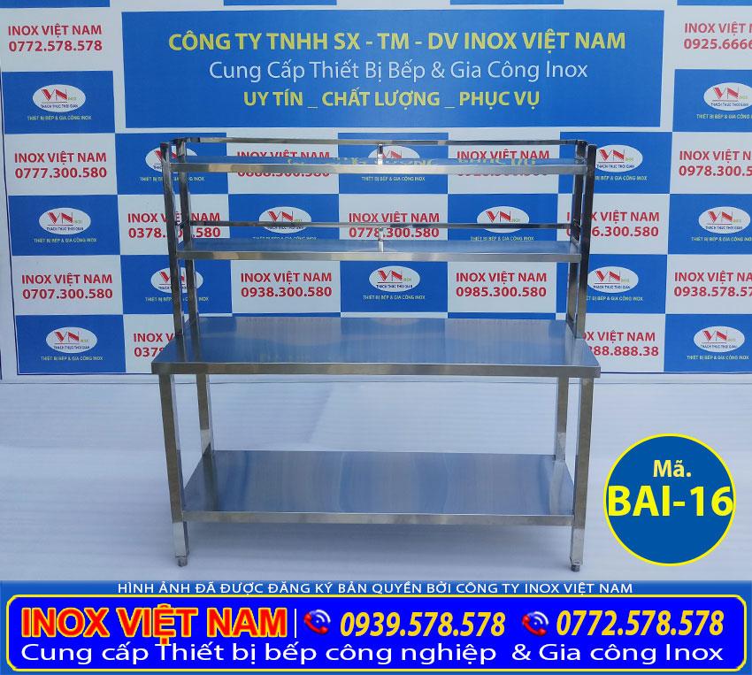 Inox Việt Nam địa chỉ sản xuất bàn bếp inox 304 giá rẻ, bàn bếp inox công nghiệp, bàn inox có kệ tích hợp 2 trong 1 uy tín chất lượng cao.