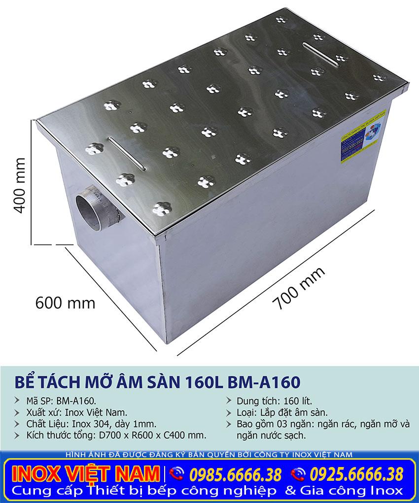 Báo giá bẫy mỡ inox 160 lít lắp đặt âm sàn. Liên hệ Inox Việt Nam ngay.