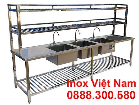 Bồn rửa inox công nghiệp 3 ngăn, chậu rửa inox có 3 hố rửa.