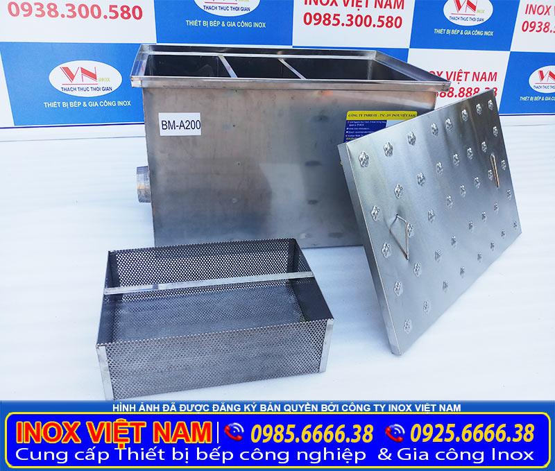 Địa chỉ bán bể tách mỡ inox công nghiệp 200 lít tại TP HCM. Liên hệ Inox Việt Nam.