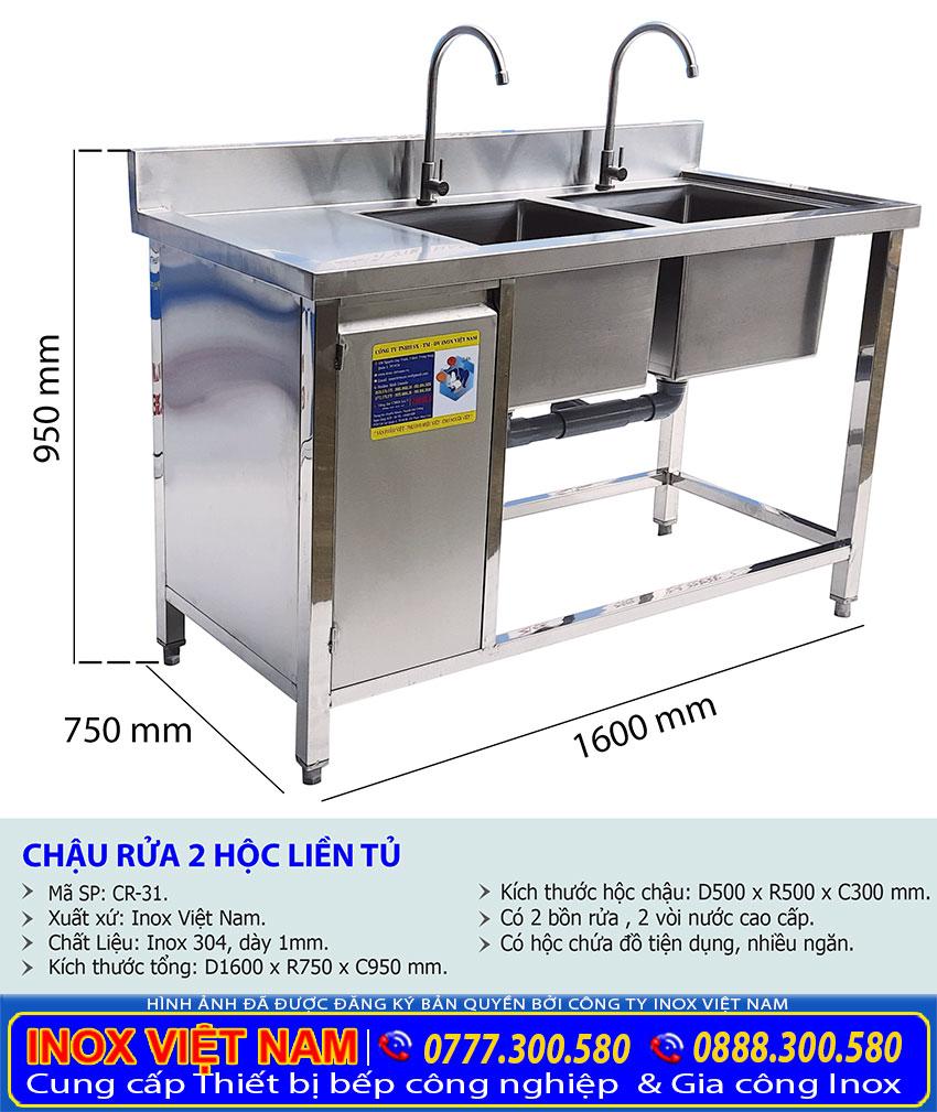 Địa chỉ bán chậu rửa inox 2 hộc liền tủ, chậu rửa inox liền tủ, bồn rửa chén inox liền tủ giá tốt tại Inox Việt Nam.