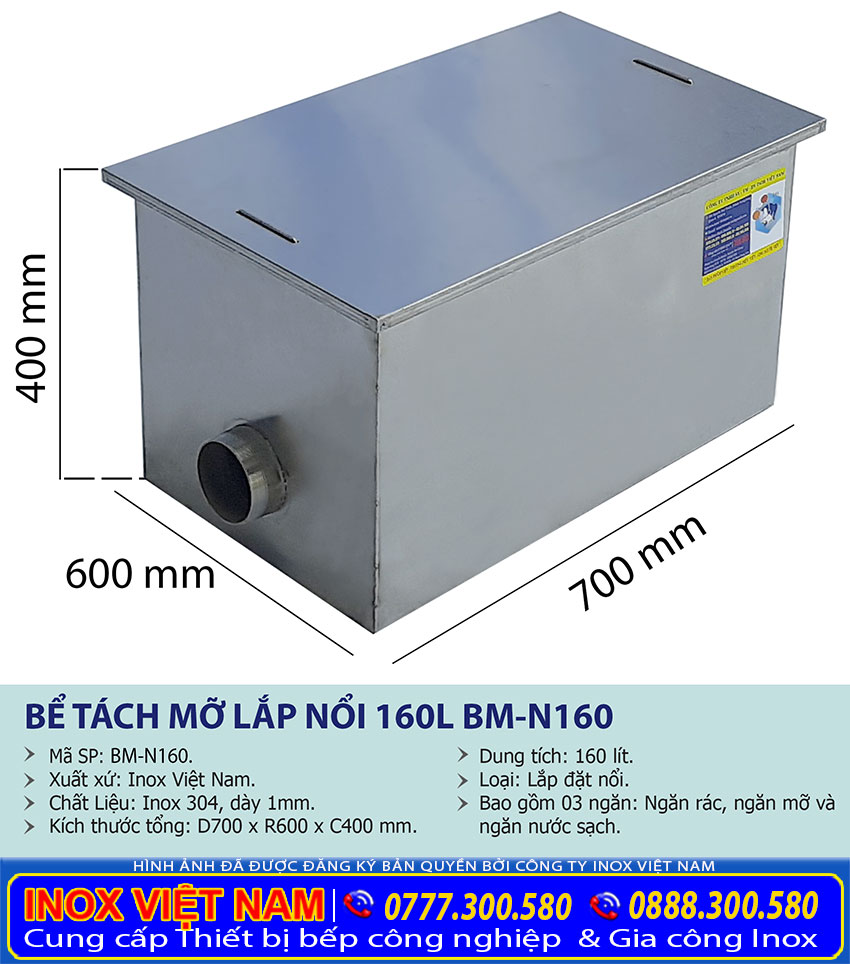 Địa chỉ mua bẫy mỡ inox 160 lít lắp đặt nổi, bẫy mỡ inox 3 ngăn giá tốt tại xưởng Inox Việt Nam.
