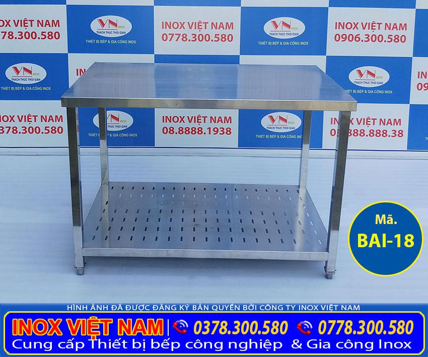 Mua bàn sơ chế inox 2 tầng có kệ dưới đục lỗ, bàn inox công nghiệp giá tốt tại Inox Việt Nam.