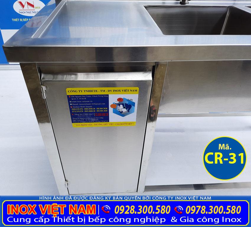 Tủ inox có bồn rửa chén inox 304. chậu rửa inox tích hợp thêm tủ cất đồ.