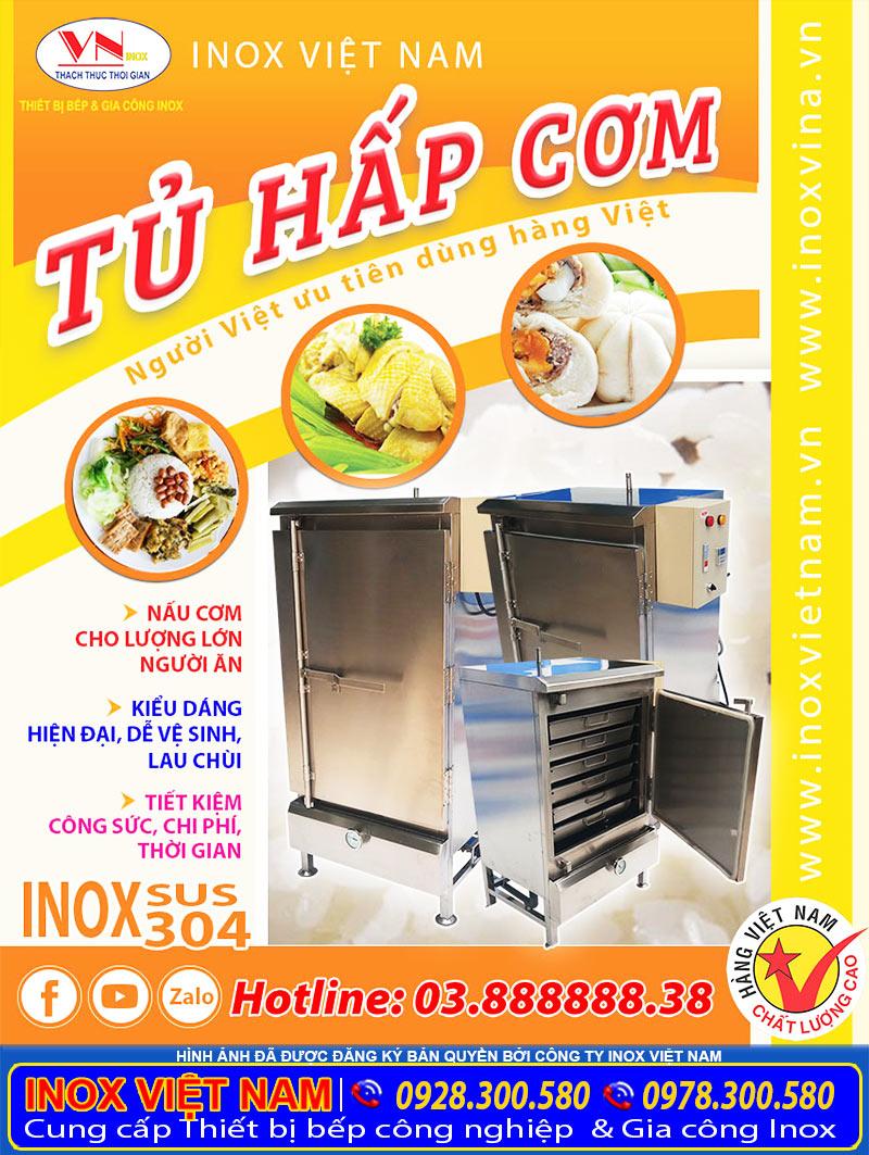 Báo giá tủ hấp cơm công nghiệp tại TP HCM, tủ cơm công nghiệp giá tốt tại xưởng sản xuất Inox Việt Nam. Liên hệ mua ngay.
