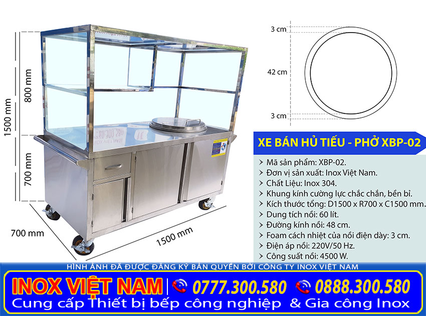 Báo giá xe đẩy bán hủ tiếu, xe đẩy bán phở inox bằng điện có nồi nấu nước lèo bằng điện 60 lít tại xưởng sản xuất Inox Việt Nam.