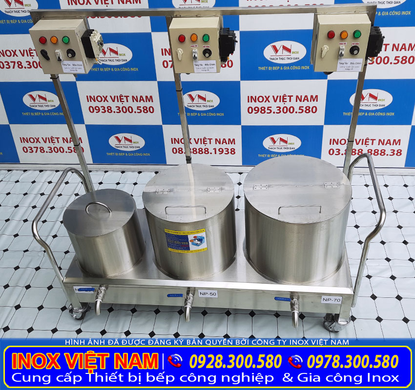 Bộ 3 nồi điện nấu phở 20 lít, 50 lít và 70 lít, bộ nồi nấu phở bằng điện giá tốt tại xưởng Inox Việt Nam.
