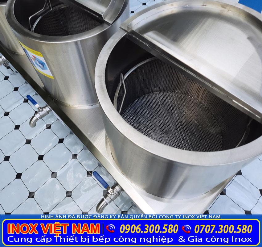 Chi tiết cận cảnh của bộ 3 nồi nấu phở bằng điện, bộ nồi điện nấu phở công nghiệp giá tốt chất lượng.