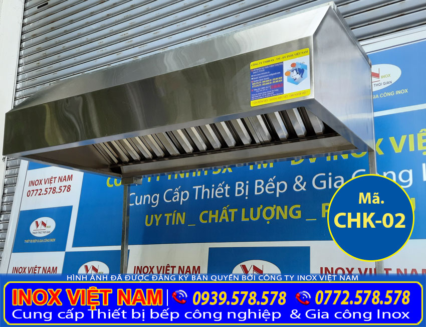 Chụp hút khói bếp inox dài 1 mét 5, chụp hút khói inox quán ăn mini, chụp hút khói inox quán cơm bình dân.