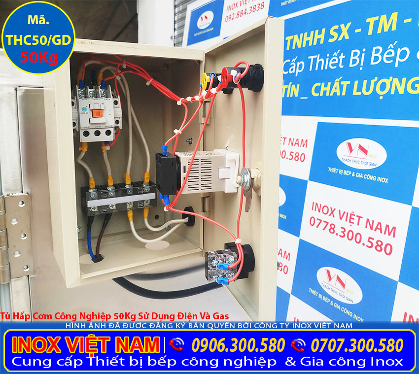 Hộp điện tủ hấp cơm công nghiệp điện và gas, tủ cơm công nghiệp giá tốt mua tại TPHCM.