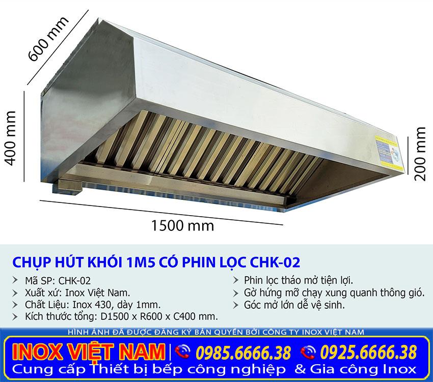 Kích thước chụp hút khói inox, chụp hút khói inox dài 1m5 thường áp dụng cho bếp quán cơm bình dân.