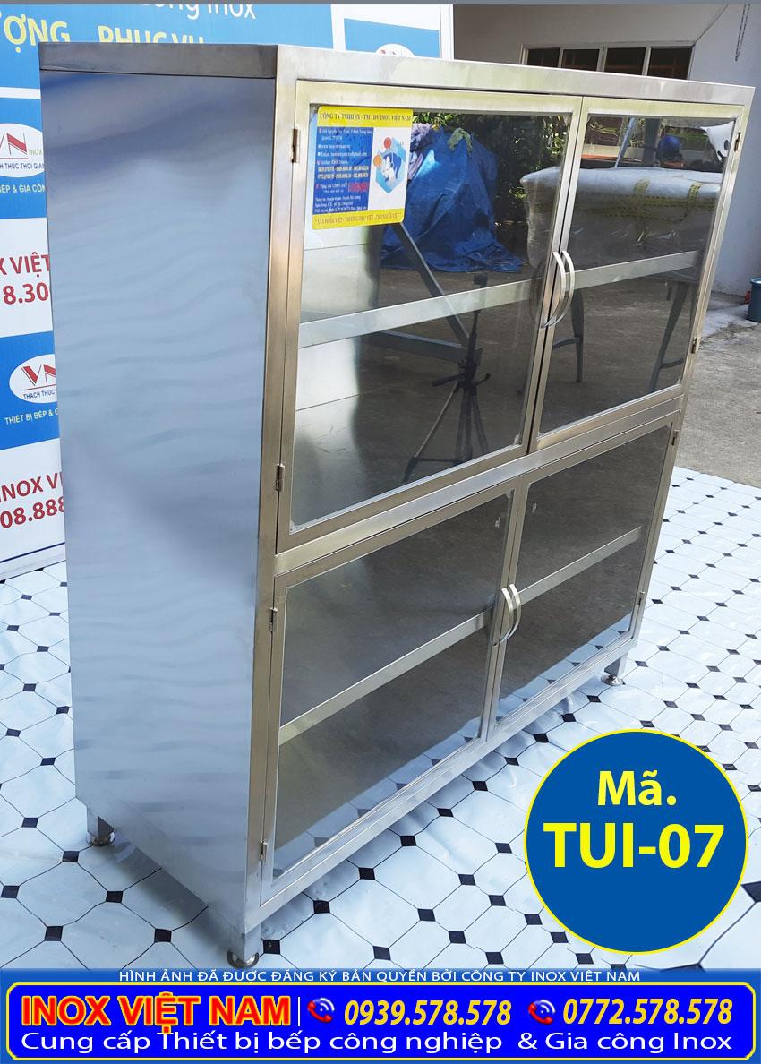 Tủ inox đựng chén bát 4 tầng giá tốt, tủ inox có 4 kệ úp chén và thực phẩm có cánh cửa lắp kính.