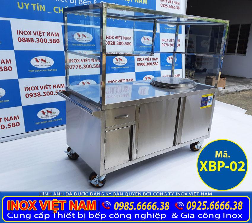 Địa chỉ mua xe bán phở inox tích hợp nồi nấu nước lèo bằng điện 60 lít giá tốt tại TP HCM.