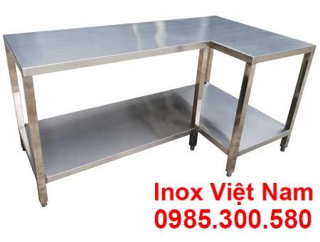 Bàn inox góc nhà bếp, bàn inox công nghiệp.