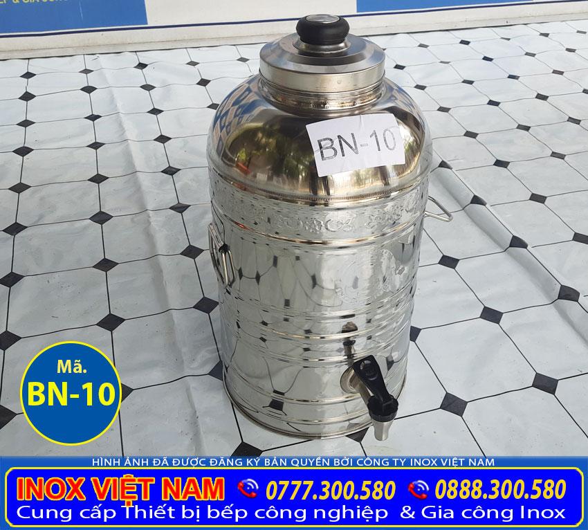 Liên hệ Inox Việt Nam mua bình đựng trà đá inox, hoặc đặt làm số lượng bình đá inox có vòi gạt, bình giữ nhiệt inox uy tín.