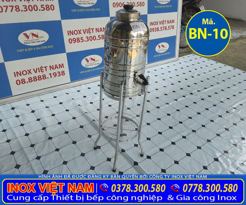 Bộ bình đựng nước inox 10 lít giá tốt, Inox Việt Nam địa chỉ bán bình đá inox, bình đựng trà đá inox uy tín.