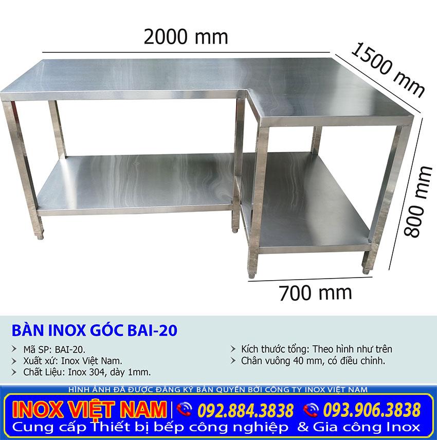 Địa chỉ gia công bàn inox đặt trong góc nhà bếp, bàn góc inox nhà bếp giá tốt tại TP HCM.