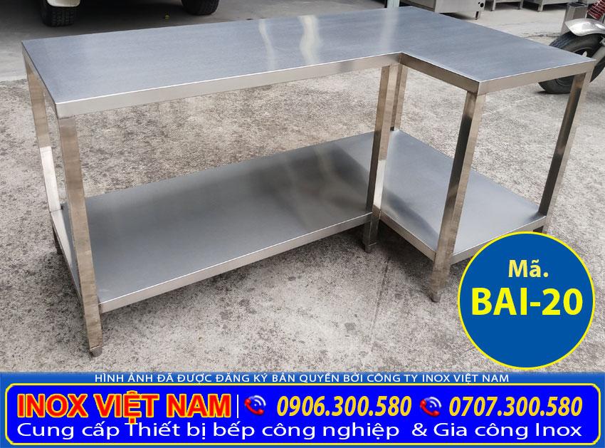 Giá bán bàn bếp inox góc tường nhà bếp, bàn inox góc nhà bếp giá gốc tại xưởng Inox Việt Nam.