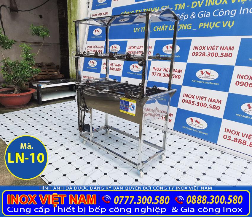 Địa chỉ mua lò nướng than inox tự động quay, lò nướng quay vịt gà có 8 xiên chất lượng tại TPHCM. Liên hệ Inox Việt Nam.