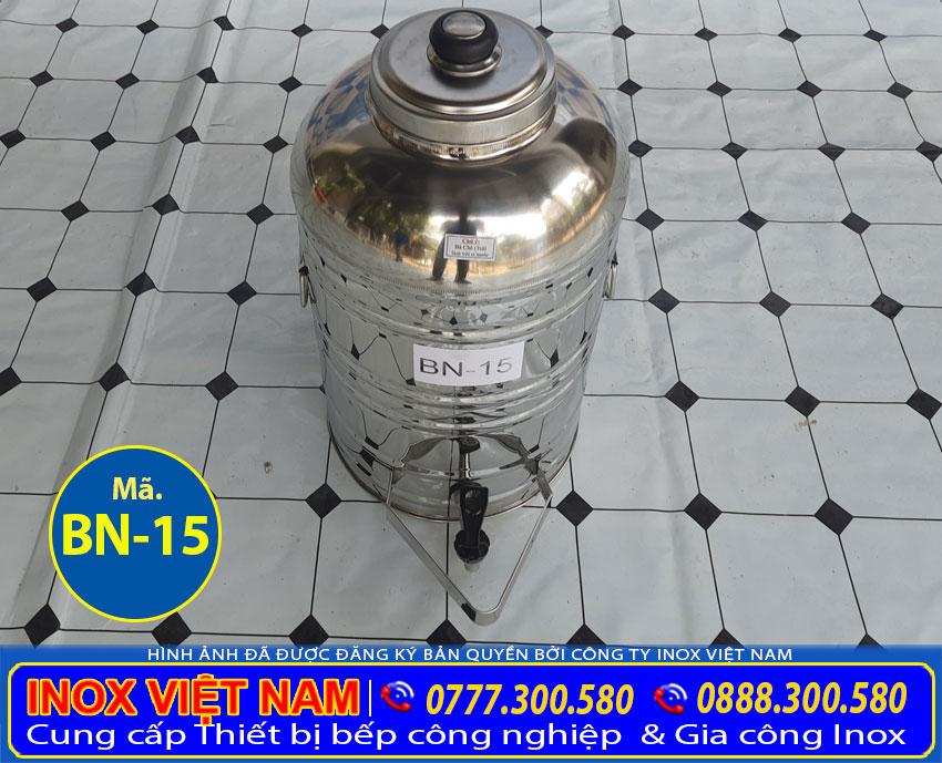 Bình đựng trà đá inox có vòi gạt dung tích 15 lít giá tốt tại xưởng Inox Việt Nam chúng tôi sản xuất mang đến tay khách hàng.