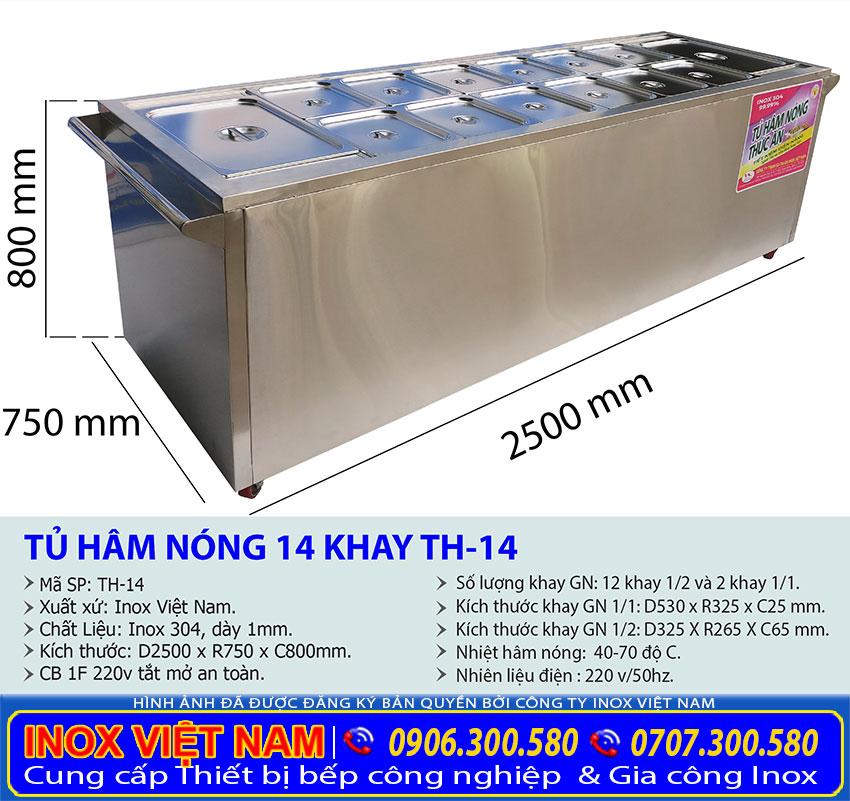 Kích thước quầy hâm nóng thức ăn có 14 khay tại Inox Việt Nam.