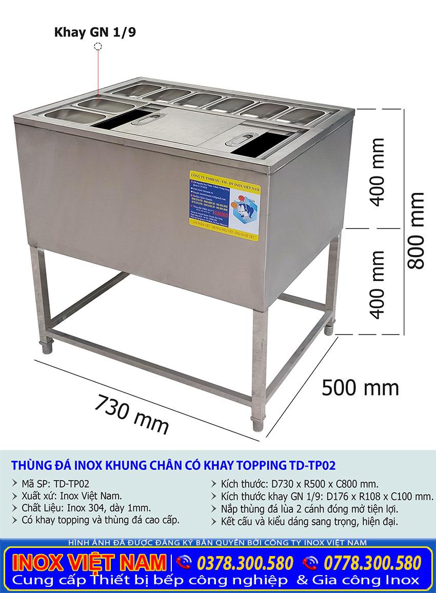 kích thước thùng đá inox có khay topping mã TD-TP02.