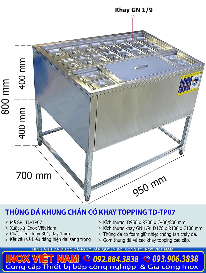 Kích thước thùng đá inox có khay topping TD-TP07.