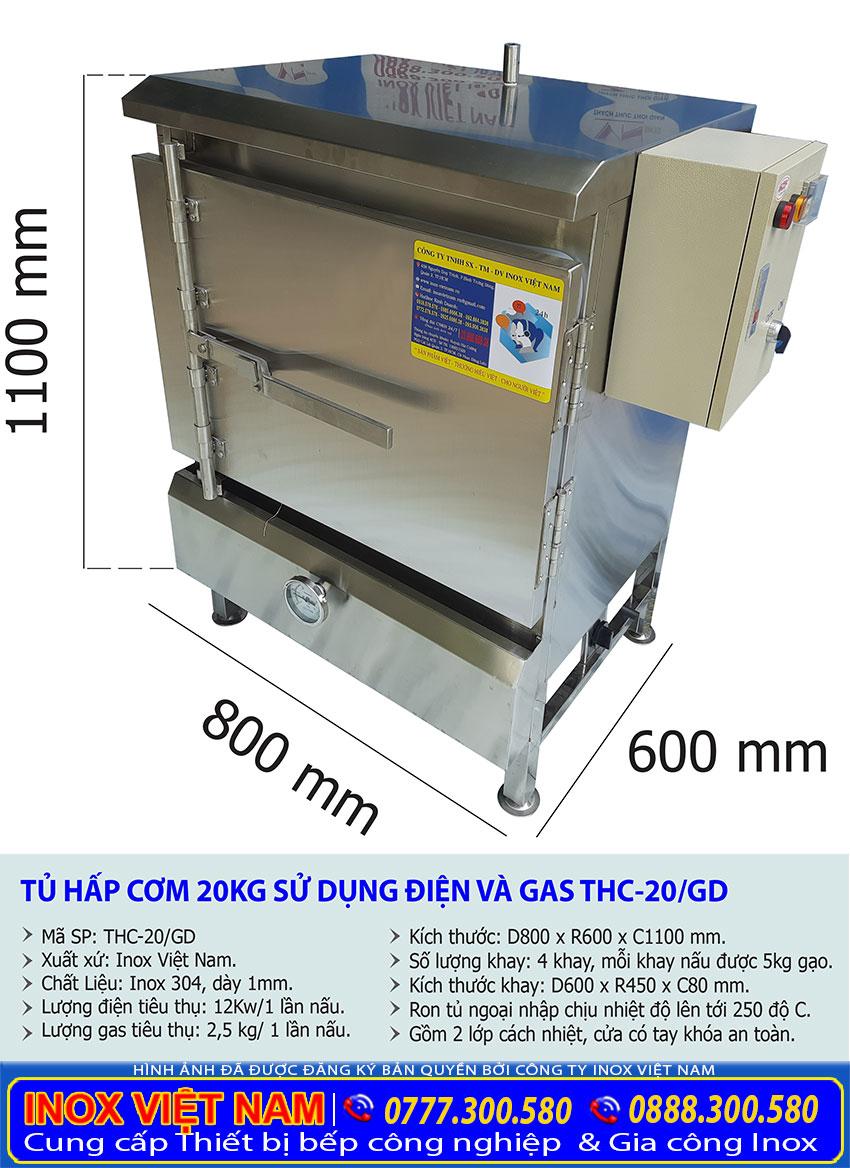 Kích thước tủ hấp cơm công nghiệp bằng điện và gas loại 20kg giá tốt tại HCM.