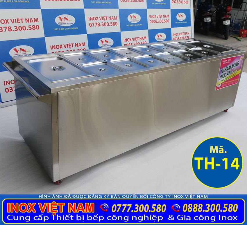 Quầy bán cơm inox hâm nóng thức ăn có 14 khay được sử dụng rộng rãi.