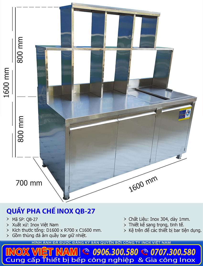 Thông số kỹ thuật quầy pha chế cho quán trà sữa đẹp liên hệ Inox Việt Nam ngay.