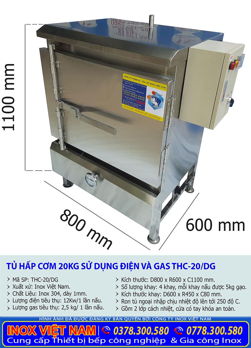 Thông số kỹ thuật tủ hấp cơm công nghiệp 20kg gạo sử dụng điện và gas loại có 4 khay mỗi khay hấp được 5kg gạo.