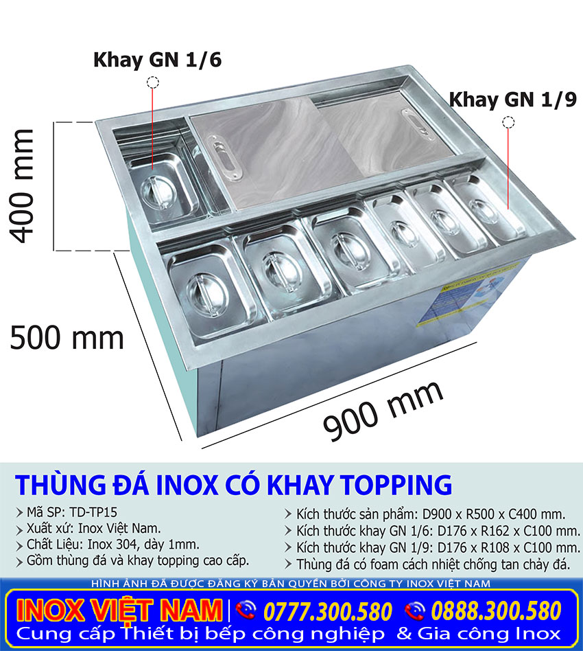 Thông số kỹ thuật Thùng đá inox có khay topping âm quầy bar giá tốt tại TP HCM mã SP TD-TP15.