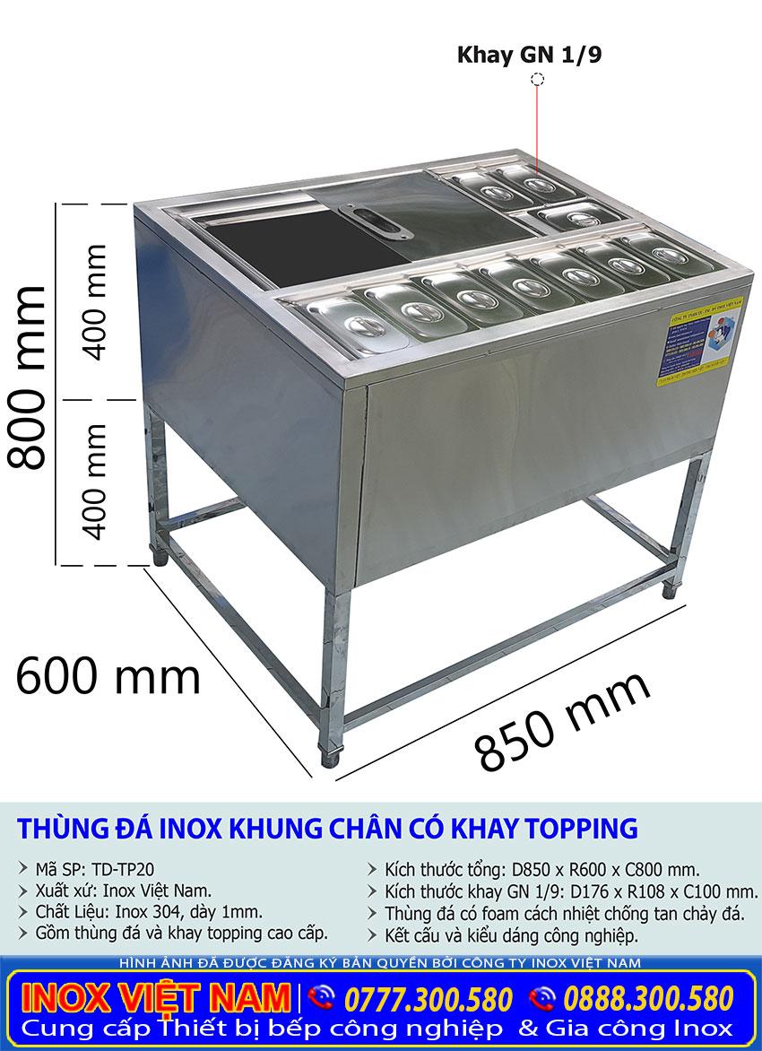 Thông số kỹ thuật thùng đá topping, thùng chứa đá có khay topping thiết kế chân cao tiện ích sang trọng.