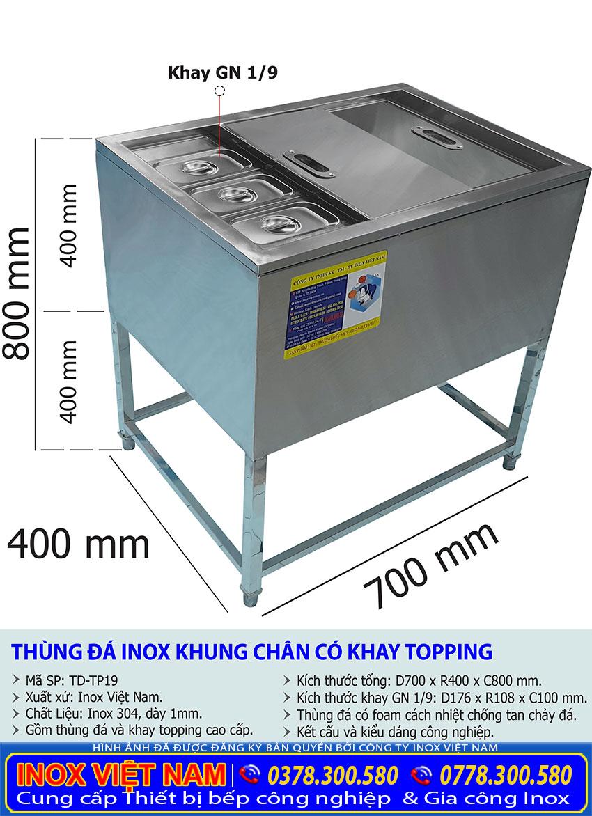 Thùng đá khung chân có khay topping giá tốt tại TP HCM.