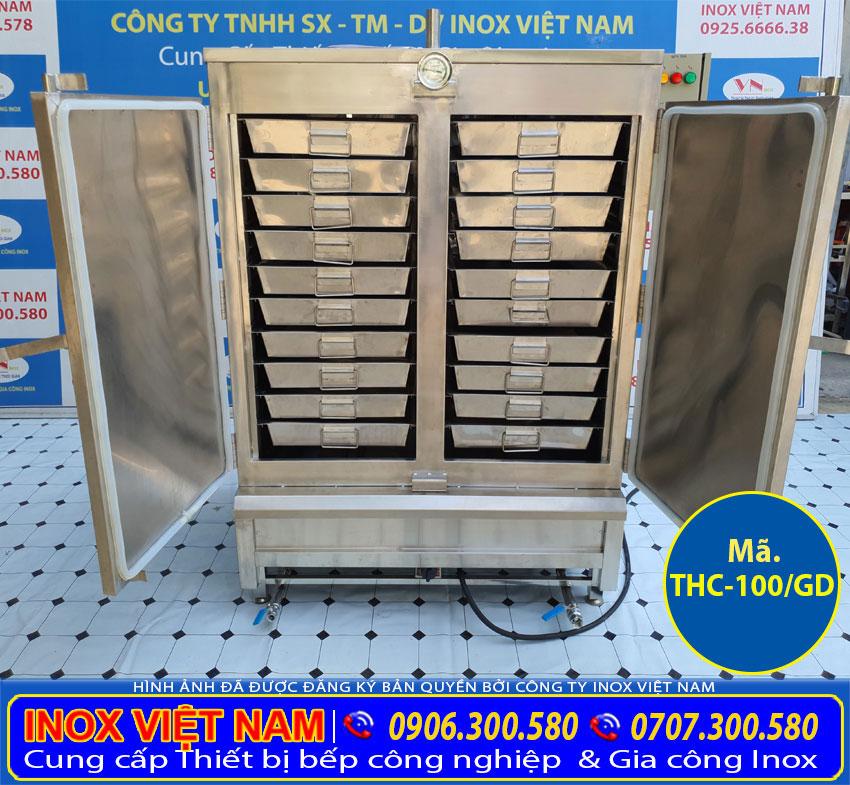 Đây là tủ hấp cơm công nghiệp 100 kg gạo sử dụng gas và điện giá tốt tại Inox Việt Nam.