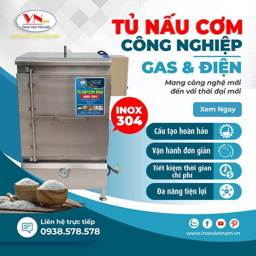 Tủ hấp cơm công nghiệp, tủ cơm công nghiệp sử dụng gas và điện giá tốt tại Inox Việt Nam.
