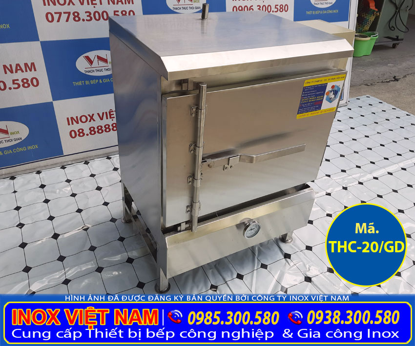 Tủ nấu cơm công nghiệp bằng gas và điện loại tủ hấp cơm 20kg gạo có 4khay.