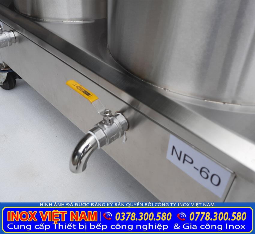 Chi tiết vòi xã nồi nấu phở bằng điện của bộ 20 lít và 60 lít.