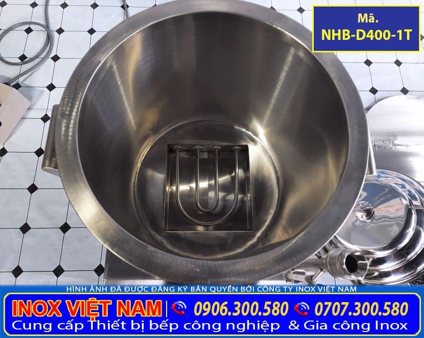 Chi tiết khoang chứa nước nồi hấp bắp bằng điện được tích hợp thêm thanh điện trở.