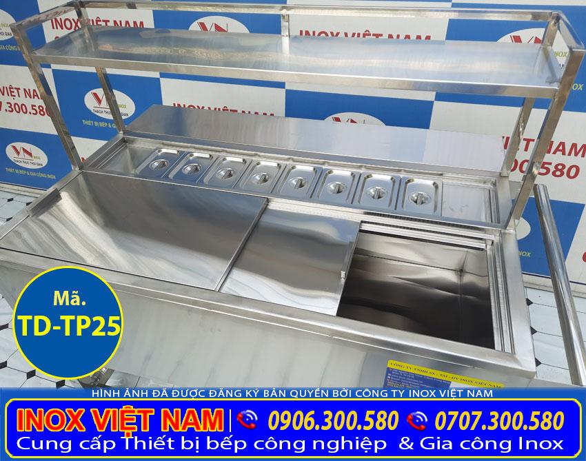 Thùng đá inox 304 có khay topping giá tốt tại Xưởng sản xuất Inox Việt Nam.