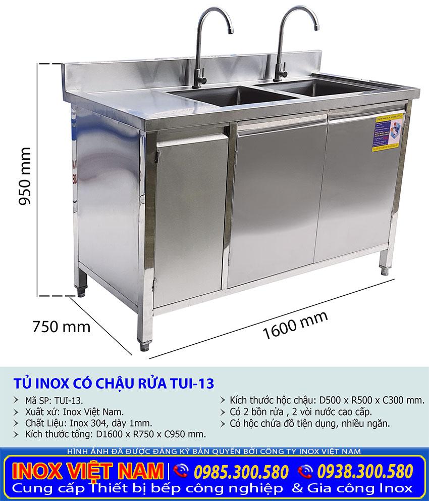 Chi tiết kích thước tủ inox có bồn rửa chén bát giá gốc tại xưởng Inox Việt Nam.