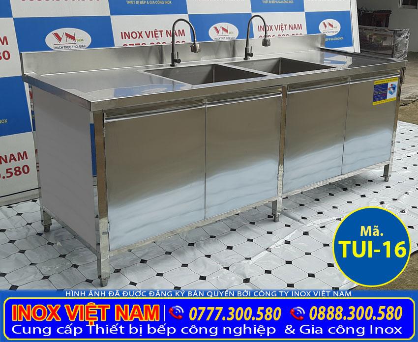 Giá bán tủ inox đựng chén bát bằng inox có gắn thêm chậu rửa rất tiện lợi.