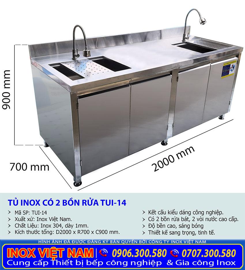 Báo giá kích thước tủ inox có bồn rửa tủ inox có chiều dài 2 mét chất lượng.