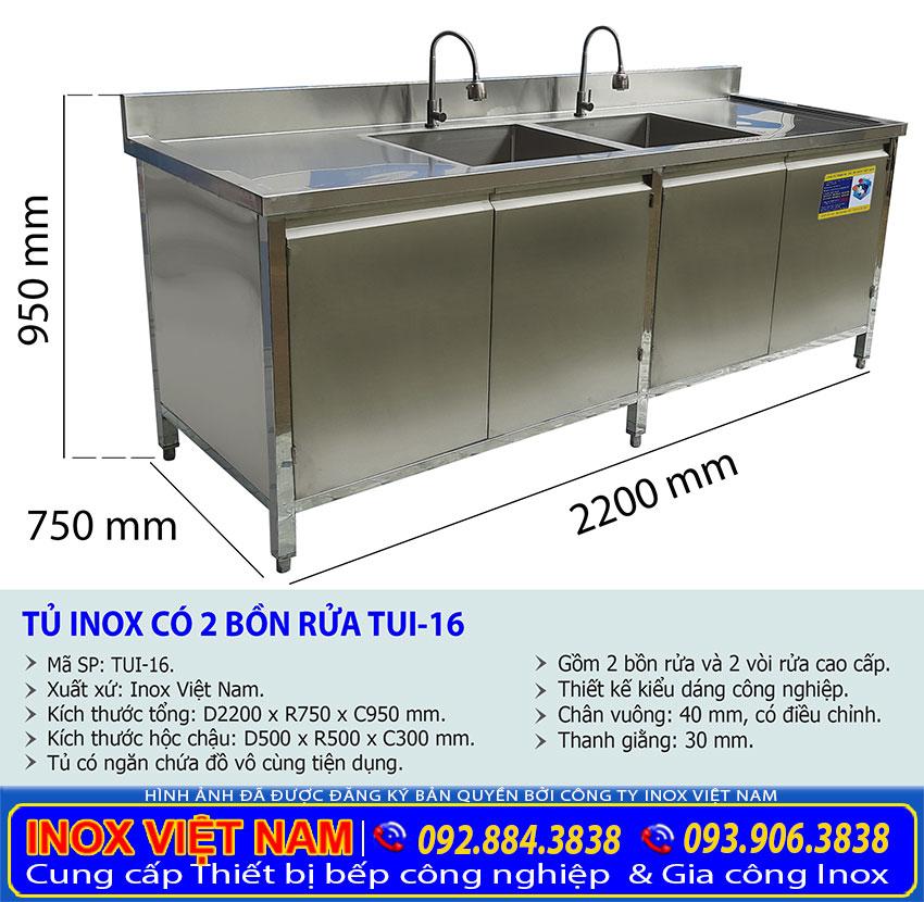 Báo giá kích thước tủ inox có bồn rửa chén bát dài 2 mét 2 chất lượng.